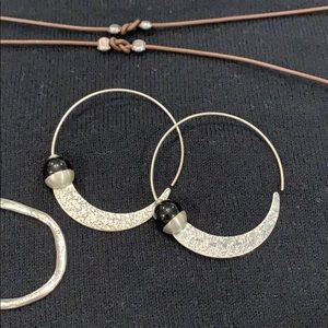 Silpada hoop earring with black bead